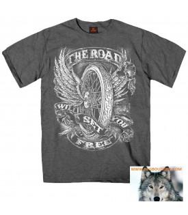 T-shirt Biker gris moto roue ailée