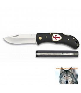 Couteau Biker manche en bois noir Croix des Templiers.
