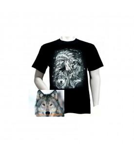 Tee shirt Biker Indien Loups