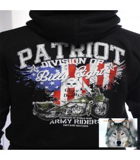 Veste capuche sweat Biker Patriot USA Army
