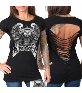 T-shirt Femme Angel VTwin harley dos ajouré