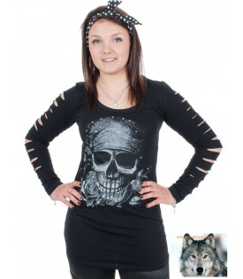 T-shirt manches longues skull pirate strass en relief