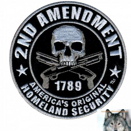 Patch écusson Biker Skull 2nd amendment
