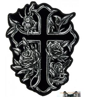 Patch écusson Femme Biker Croix Et Roses