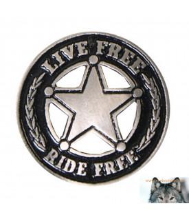 Pin's Biker Star Live Free Ride Free