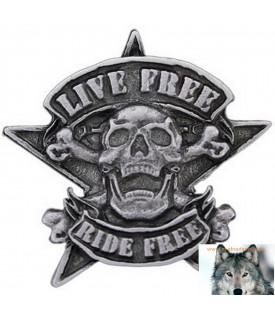 Pin's Biker Skull Tête De Mort Etoile
