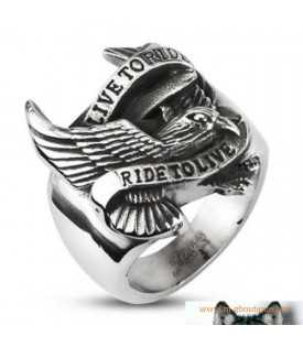 Bague Aigle Biker Live To Ride