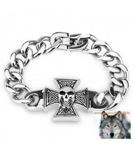 Bracelet Chaîne Croix De Malte Tête De Mort Biker