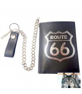 Portefeuille Biker Cuir Route 66 Format Europe