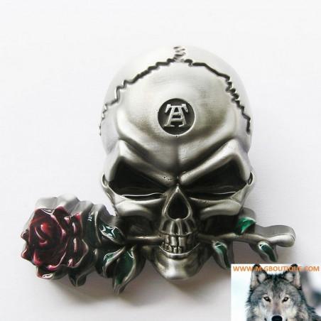 Boucle De Ceinture Tête De Mort Rose