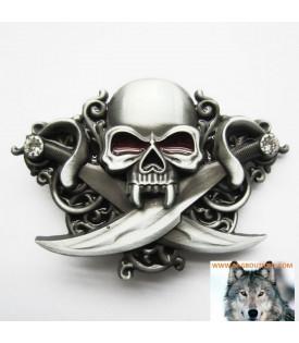 Boucle De Ceinture Tête De Mort Pirate