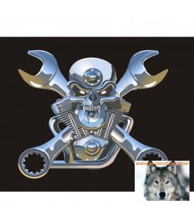 Drapeau Fanion Skull V-Twin Cles Plates Moto Trike LUXE