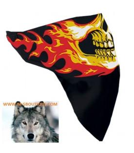 Foulard Masque Coton Crane Flamme Moto