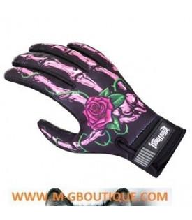 Gants Moto Mains Squelette Roses Biker