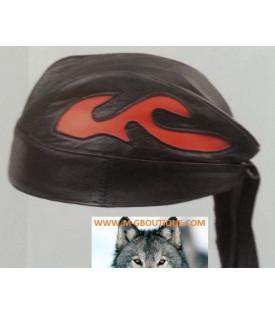 Bandanas Cuir Flammes Orange Biker