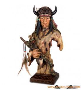 Statuette Buste Indien Cornes