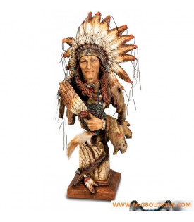 Statuette Buste Indien Avec Plumes
