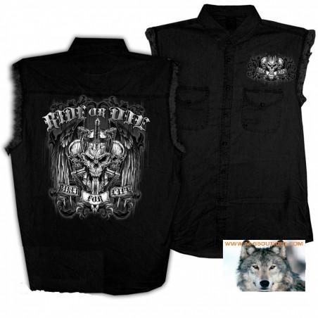 Chemise Jeans Noir Skull Ride Or Die