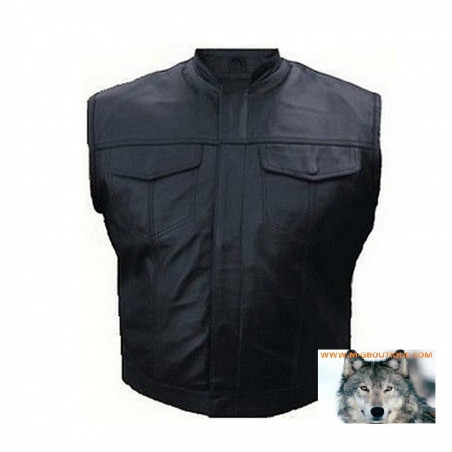 Gilet Cuir Type Sons Of Anarchy Poches Poitrines