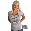 Tee-shirt Skull Fleuri Lady Rider