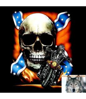 Tee Shirt Motard Skull Rebel Flag