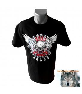 Tee shirt Bikers Skull Mecanical