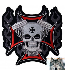 Patch écusson Biker Croix De Malte Skull V-Twin