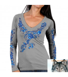 T-shirt Manches Longues Fleurs Bleues