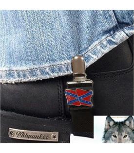 Paire de clips pantalon drapeau rebel confédéré