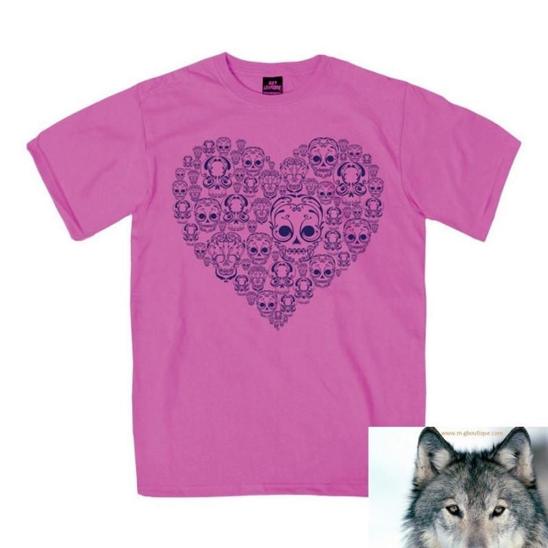 T-shirt Fille Biker Skull Heart