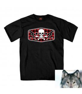 T-shirt Garçon Biker Tête de mort