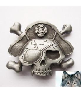 Boucle de Ceinture Tête de Mort pirate bones