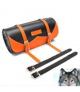 Sacoche de fourche ronde outils noire et orange moto