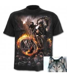 Tee Shirt Biker Skull Wheels Of Fire