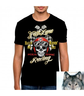 "T-Shirt Skull ""Fast Lane"" Racing"