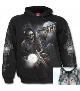 Pull à capuche Biker Tête de mort Dark Rider