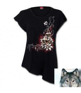 Tee shirt asymétrique Lady Rider Skull & Flowers.