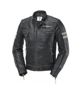 Blouson Moto Veste Cuir Noir Beige