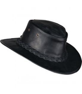 Chapeau Cuir Noir Pliable Australien