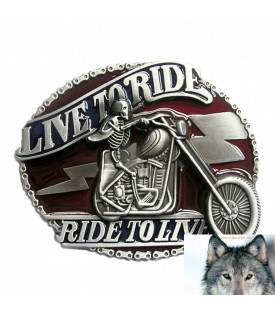 Boucle Bikers Skull Motard Live to Ride