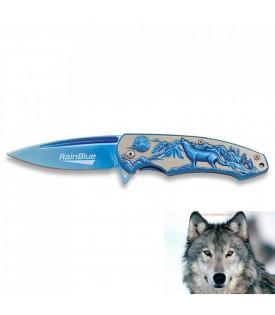 Couteau Biker Bleu Loup Moto