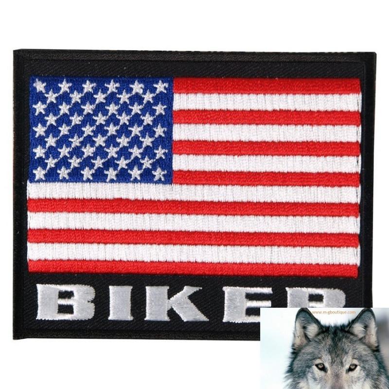 Ecusson Patch Drapeau USA Biker.