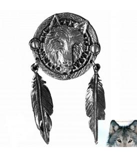 Pin's Loup Et Plumes Indien