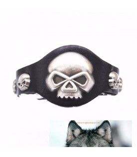 Bracelet Cuir Skull.