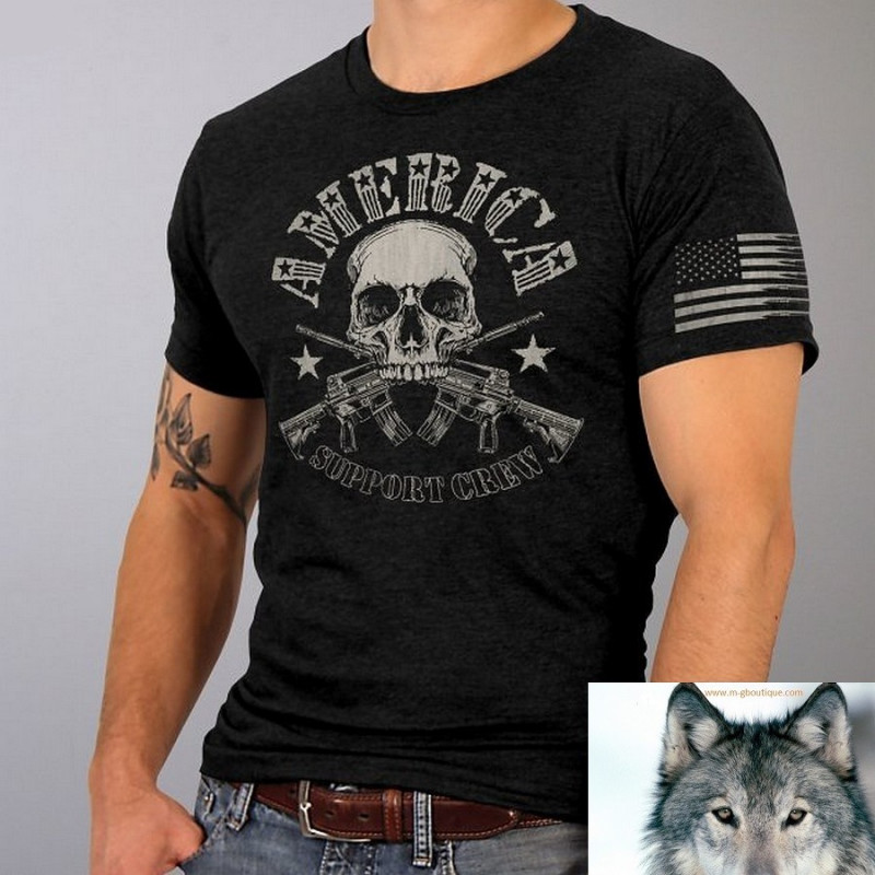 T-Shirt Biker Tête De Mort 2nd Amendment.