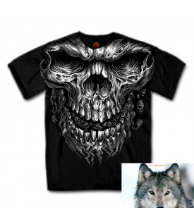 T-shirt Biker Skull flaming.