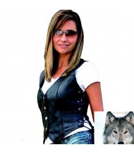 Gilet Cuir Femme Biker.