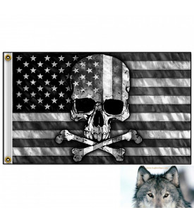 Drapeau Skull Bones USA Black & White