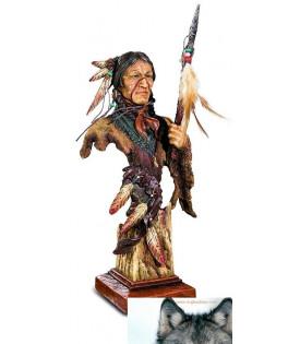 Statuette Buste Indien Avec Lance
