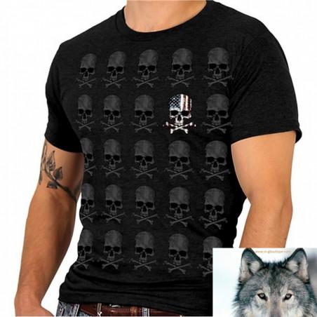 T-shirt Biker Crane Os Drapeau USA